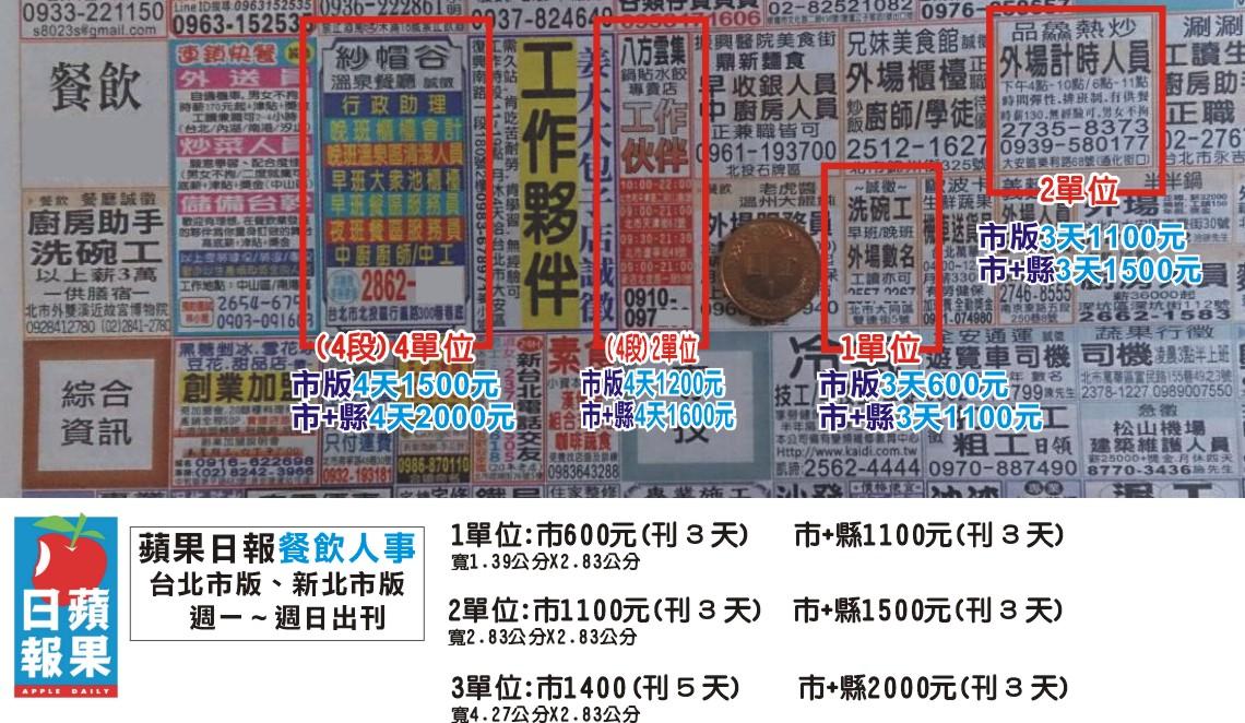 蘋果日報廣告台北