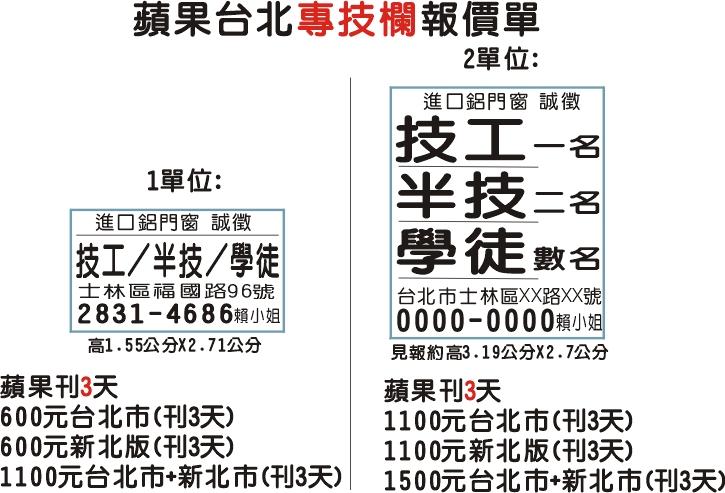 蘋果日報 廣告價格表