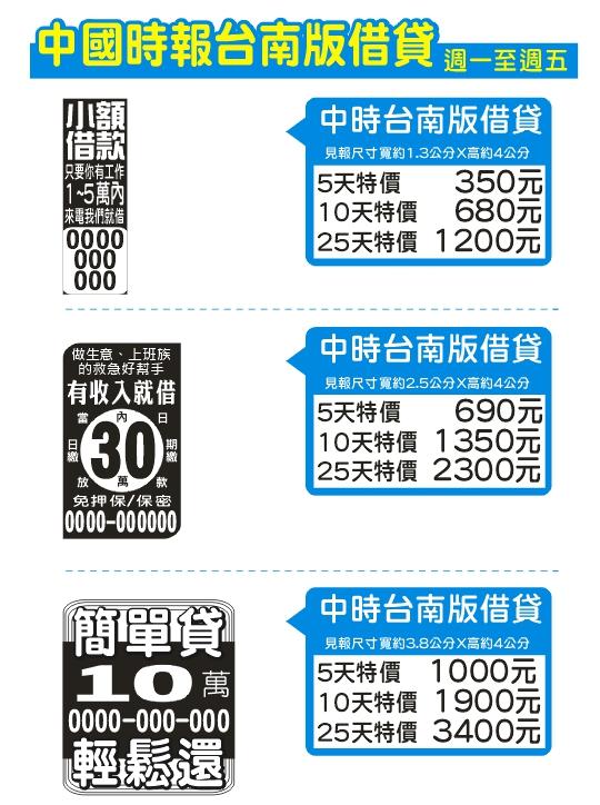 中國時報台南票貼廣告